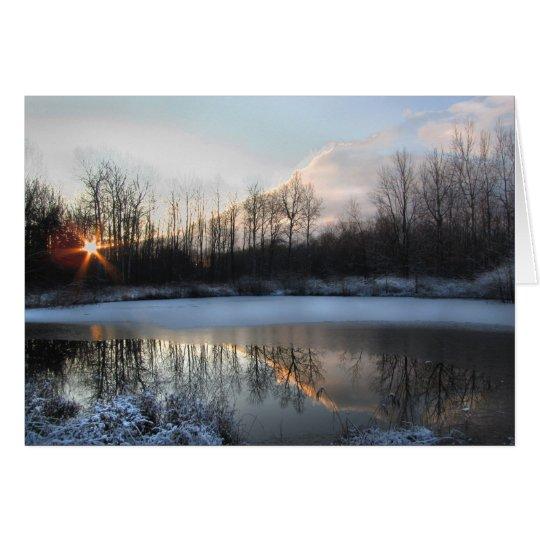 Sonnenaufgang in dem Teich Grußkarte