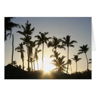 Sonnenaufgang-Palmen mit Bibel-Vers Karte