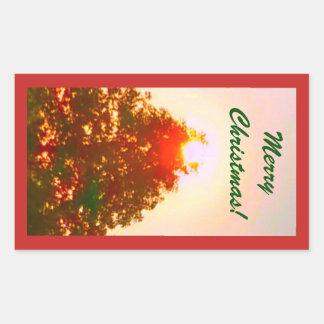 Sonnenaufgang-Weihnachtslicht-Foto 2 Rechteckiger Aufkleber