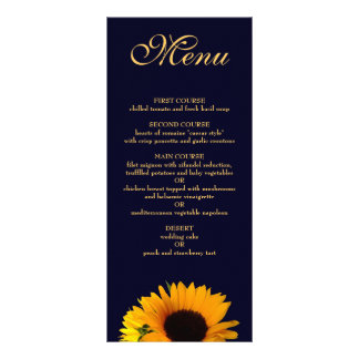Sonnenblume-Abendessen-Menü (Marine-Blau) Werbekarte