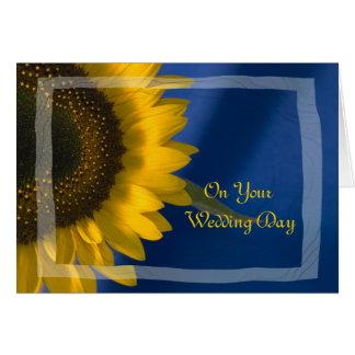 Sonnenblume auf Blau gemischter Familien-Hochzeit Grußkarte