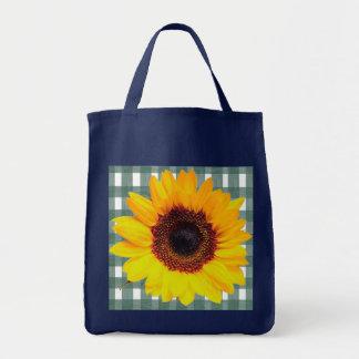 Sonnenblume auf grünem Spitze-Gingham Tragetasche