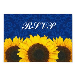 Sonnenblume-blaue Damast-Hochzeit UAWG Wartekarte 8,9 X 12,7 Cm Einladungskarte