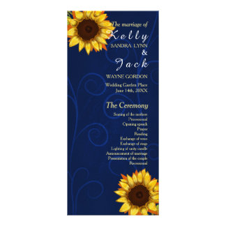 Sonnenblume/blaue Hochzeitsgestellkarte Werbekarte