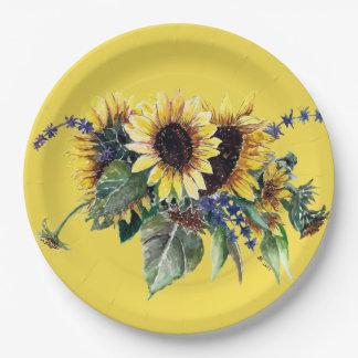 Sonnenblume-Blumenstrauß Pappteller