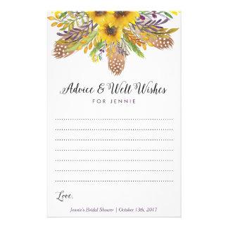 Sonnenblume-Brautparty-Ratekarten Flyer