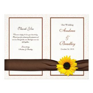 Sonnenblume-Damast-Blumenhochzeits-Programm 21,6 X 27,9 Cm Flyer