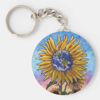 Sonnenblume-Erdkunst Schlüsselanhänger