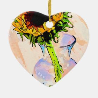 Sonnenblume-Farbe Keramik Herz-Ornament