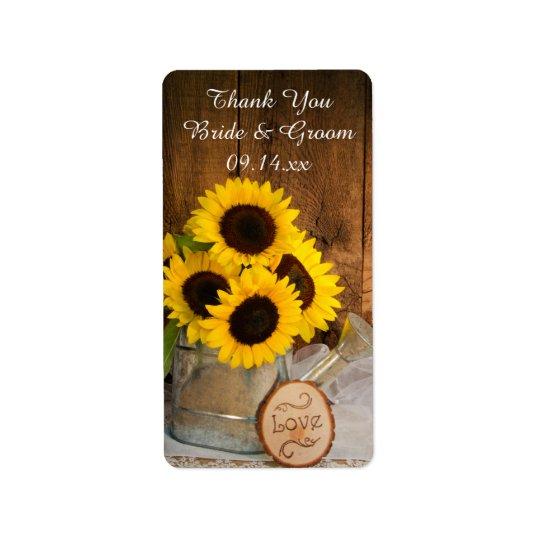 Sonnenblume-Garten-Gießkanne-Hochzeit danken Ihnen Adressetiketten