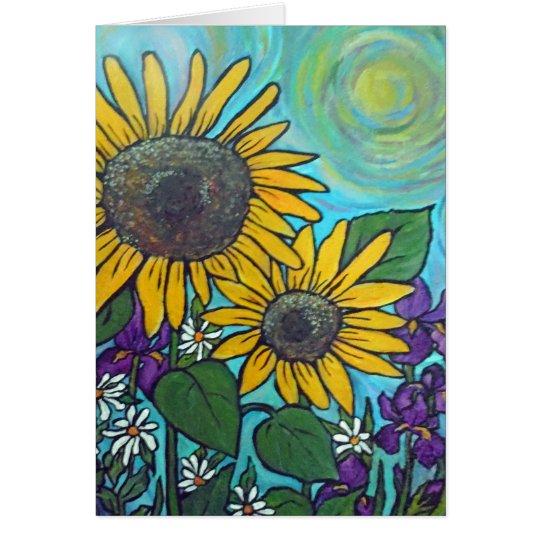 Sonnenblume-Garten-Karte Grußkarte
