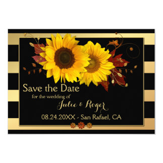 Sonnenblume-Goldgestreifte Foto-Save the Date Karte