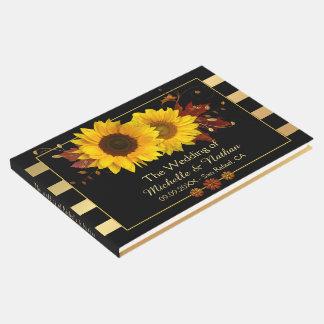 Sonnenblume-Goldgestreiftes Hochzeits-Gast-Buch Gästebuch