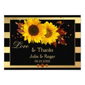 Sonnenblume-Goldstreifen-Foto-Hochzeit danken Karte