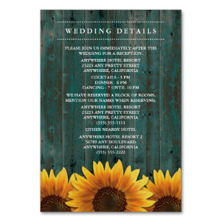 Sonnenblume-Hochzeits-Empfang + Anpassungs-Karten
