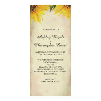 Sonnenblume-Hochzeits-Programm - Vintag Werbekarte