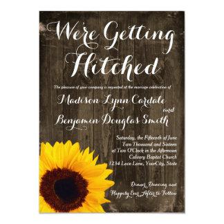 Sonnenblume-Holz, das Hitched Wedding Einladungen