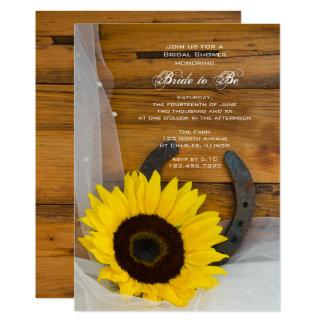 Sonnenblume-Hufeisenland-Western-Brautparty 12,7 X 17,8 Cm Einladungskarte