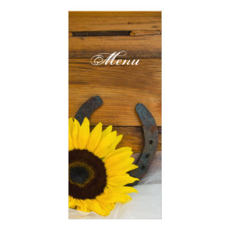 Sonnenblume-Hufeisenland-Western-Hochzeits-Menü Werbekarte