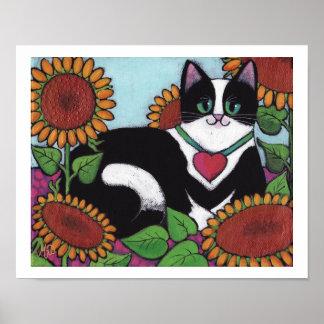 Sonnenblume-Katze Poster