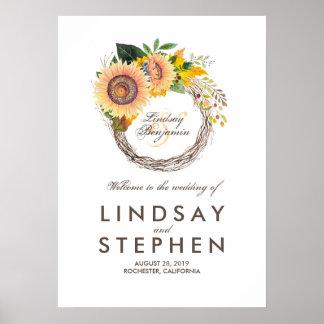 Sonnenblume-Kranz-Hochzeits-Willkommensschild Poster