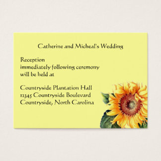 Sonnenblume-Land-Hochzeits-Empfangs-Ort-Einsatz Visitenkarte