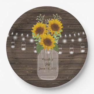 Sonnenblume-Land-hölzerne Weckglas-Hochzeit Pappteller