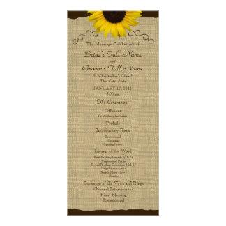 Sonnenblume-Land-Leinwand-Hochzeits-Programm Werbekarte