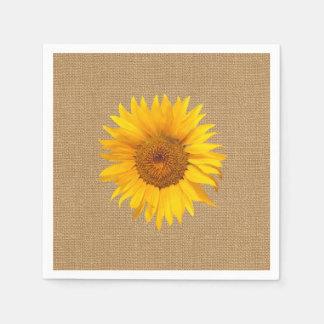 Sonnenblume-Leinwand-rustikale Hochzeit Papierserviette