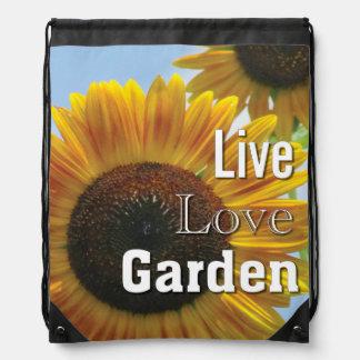Sonnenblume-LiveLiebe-Garten-Rucksack Turnbeutel