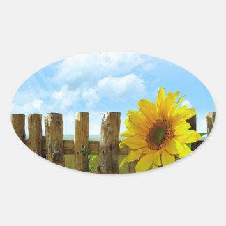 Sonnenblume-Natur-Schönheit Ovaler Aufkleber