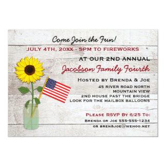 Sonnenblume-patriotisches Party, Wiedersehen, 12,7 X 17,8 Cm Einladungskarte