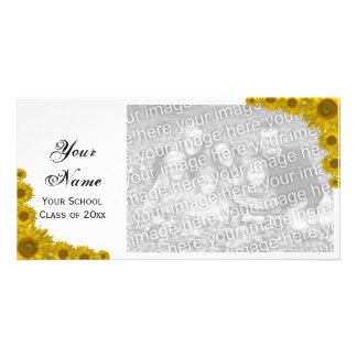 Sonnenblume-Rand-Abschluss-Mitteilungs-Foto-Karte Fotogrußkarten