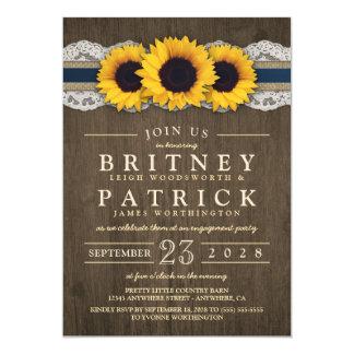 Sonnenblume-rustikale blaue Verlobungs-Party Karte