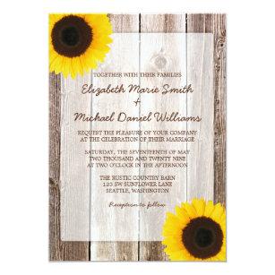 Sonnenblume Rustikale Scheunen Hölzerne Hochzeit Einladung