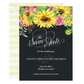 Sonnenblume-Save the Date Karte auf einem dunklen Karte