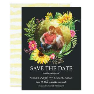 Sonnenblume-Save the Date Karte mit dunklem Karte