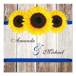 Sonnenblume Scheunen Hölzerne Blaues Band Hochzeit Einladung