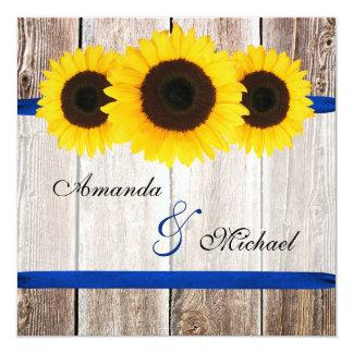 Sonnenblume-Scheunen-hölzerne blaues Band-Hochzeit Quadratische 13,3 Cm Einladungskarte
