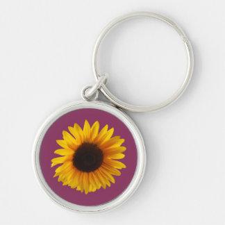 Sonnenblume-Schlüsselring (Gold und Himbeere) Schlüsselanhänger