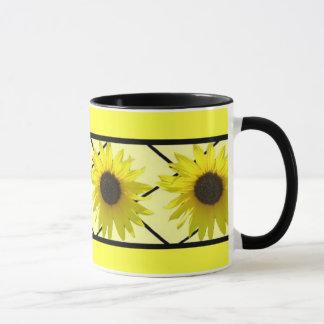 Sonnenblume schwarzes Triming Tasse