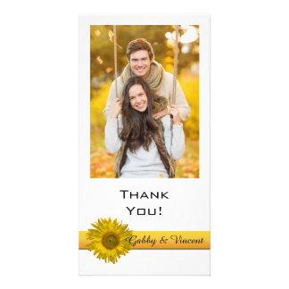 Sonnenblume-Streifen danken Ihnen Foto-Karte Karte
