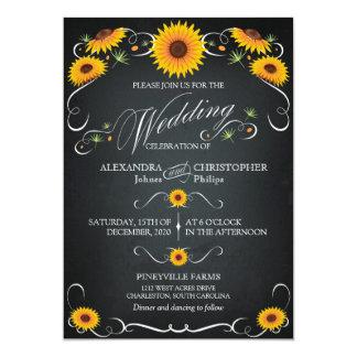 Sonnenblume-Tafel-Vintage mutige mit 12,7 X 17,8 Cm Einladungskarte