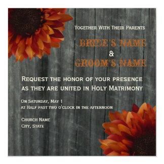Sonnenblume-u. Barnwood Hochzeit im Quadratische 13,3 Cm Einladungskarte