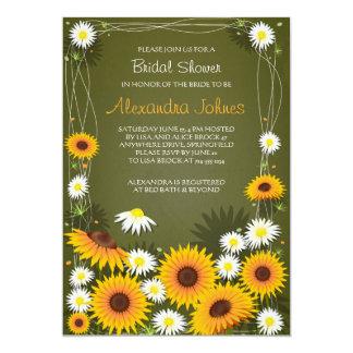 Sonnenblume-u. Gänseblümchen-BlumenBrautparty-Grün 12,7 X 17,8 Cm Einladungskarte