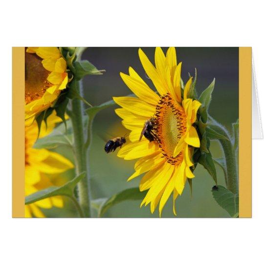 Sonnenblume-und Bienen-Geburtstags-Karte Grußkarte