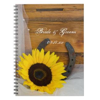 Sonnenblume-und Hufeisen-Land-Western-Hochzeit Notizblock