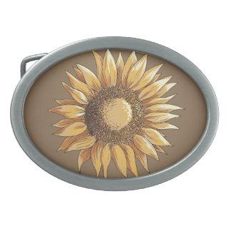Sonnenblume-und Schmetterlings-Vintages elegantes Ovale Gürtelschnallen