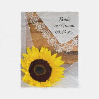 Sonnenblume und Spitze-Land-Hochzeit Fleecedecke