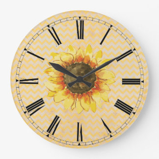 Sunflower Faded Chevron Wall Clock